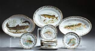 Fourteen Piece French Limoges Porcelain Fish Set, c.