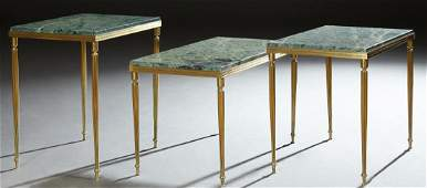 French Empire Style Marble Top Brass Side Tables, 20th