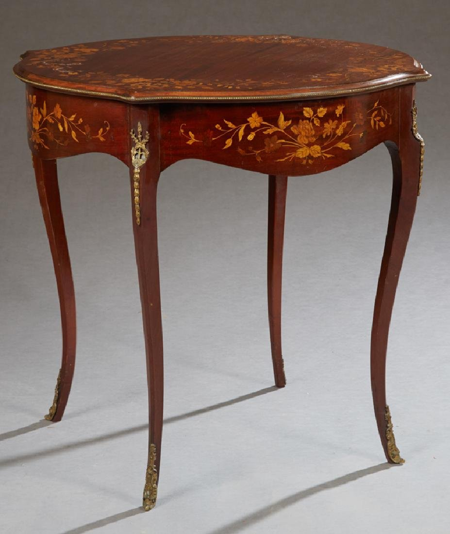 Louis XV Style Ormolu Mounted Marquetry Inlaid Mahogany