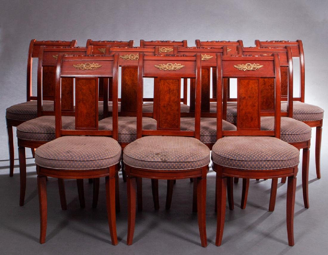 Set of Twelve French Empire Style Dining Chairs, late