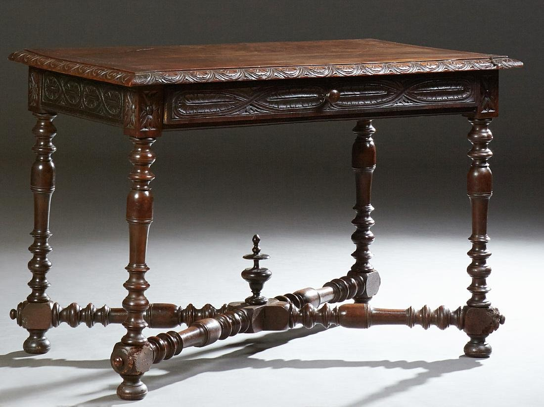 French Louis XIII Style Carved Walnut Writing Table,