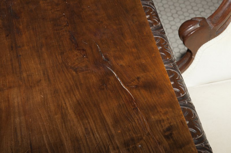 French Louis XIII Style Carved Walnut Writing Table, - 5