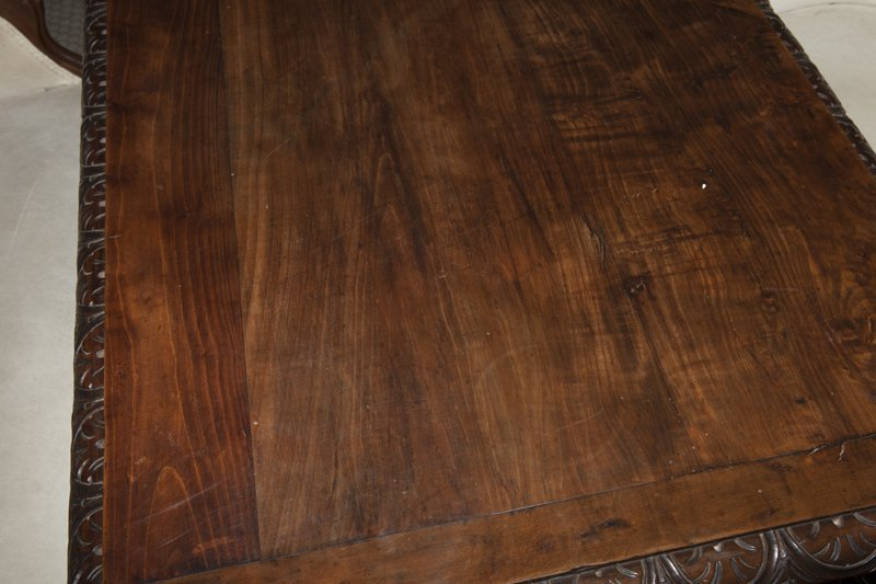 French Louis XIII Style Carved Walnut Writing Table, - 6
