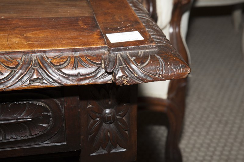 French Louis XIII Style Carved Walnut Writing Table, - 7