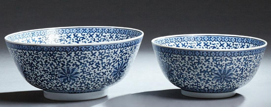 Two Large Chinese Porcelain Matching Punch Bowls, 20th