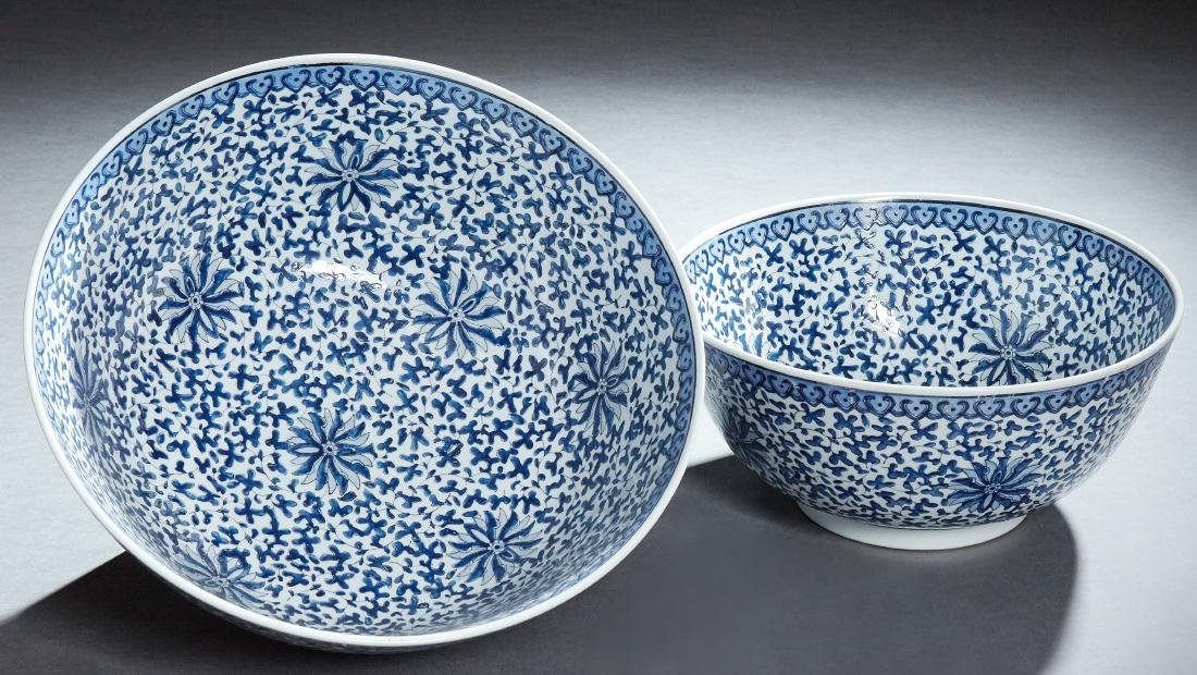 Two Large Chinese Porcelain Matching Punch Bowls, 20th - 2