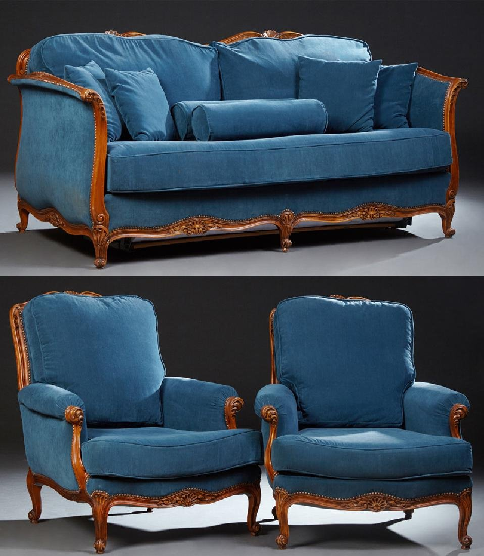 French Louis XV Style Carved Walnut Three Piece Parlor