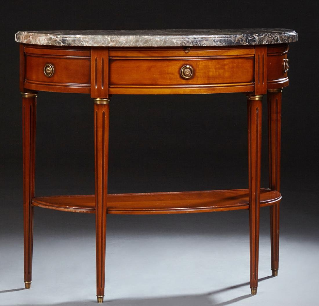 French Louis XVI Style Marble Top Console Table, 20th