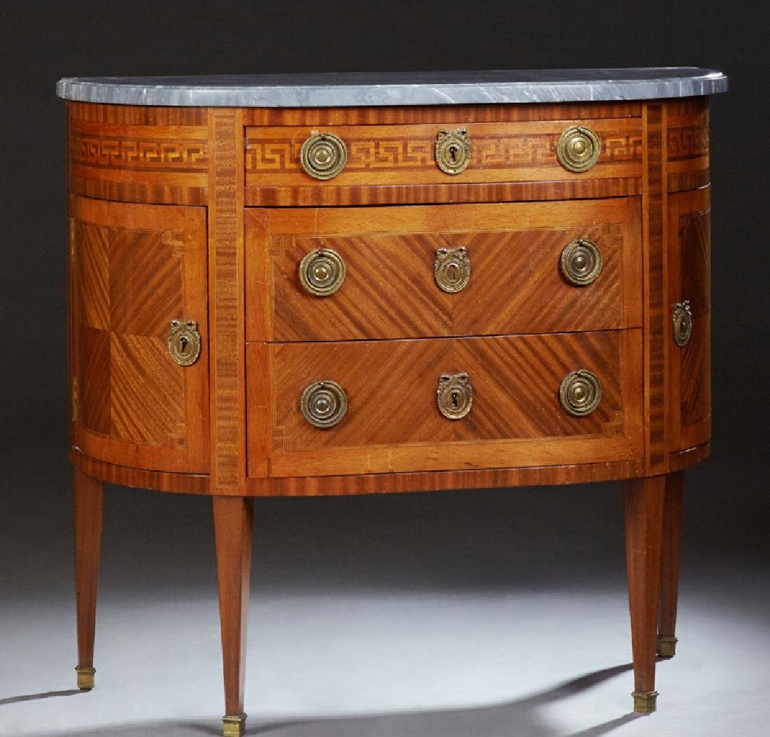 Louis XVI Style Demilune Marble Top Commode, early 20th