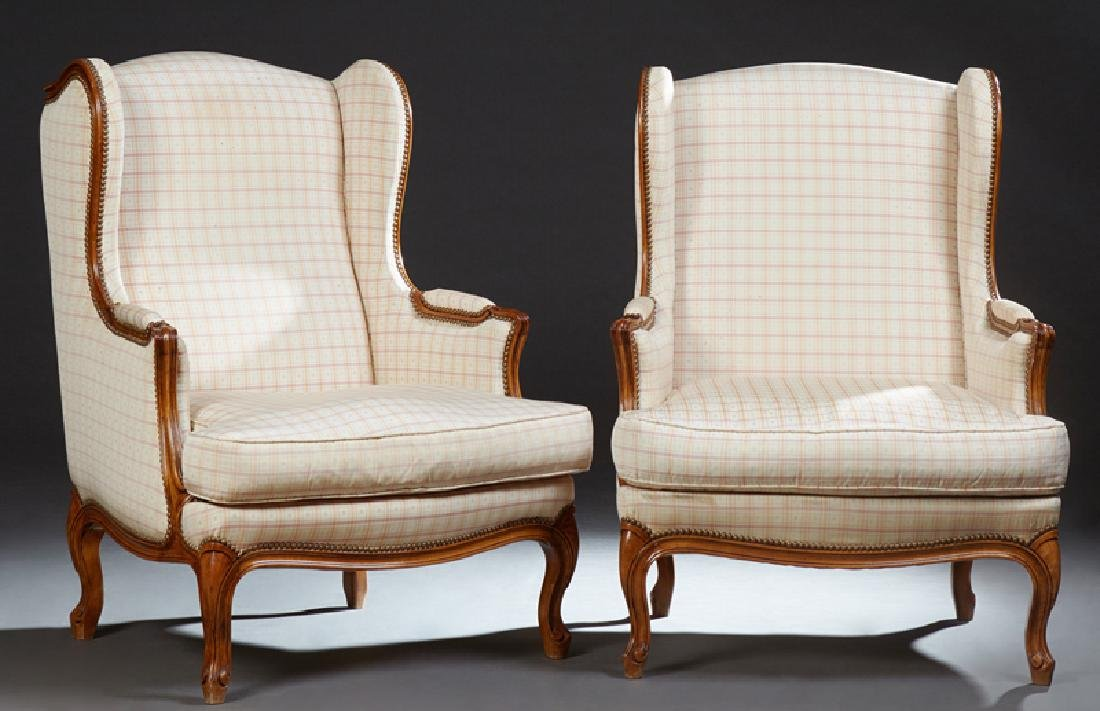 Pair of French Louis XV Style Carved Walnut Upholstered
