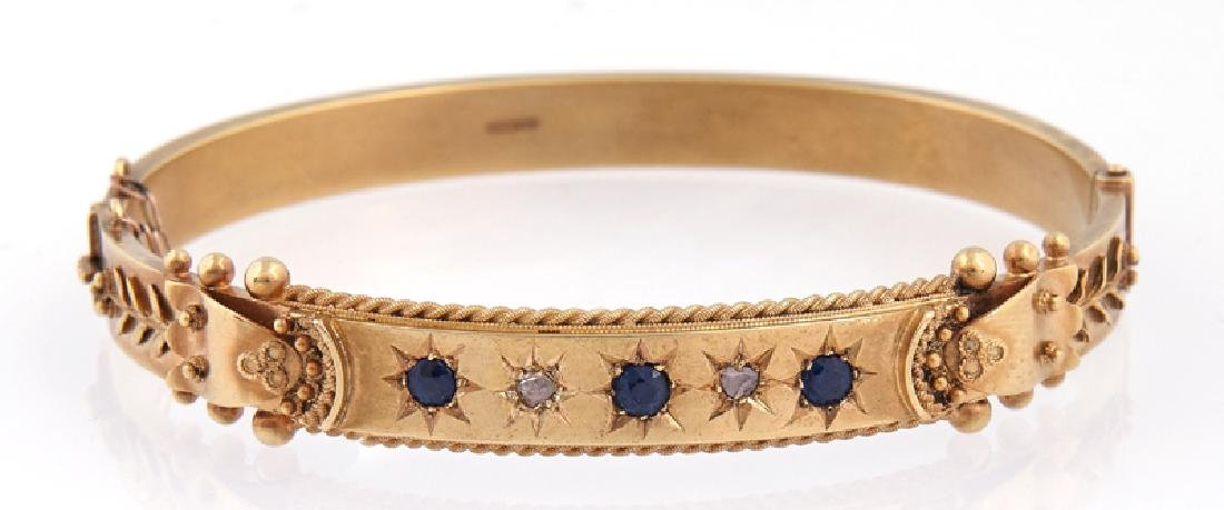 English 15K Yellow Gold Hinged Bangle Bracelet, 1912,