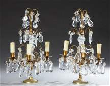 Pair of French Three Light Crystal and Brass