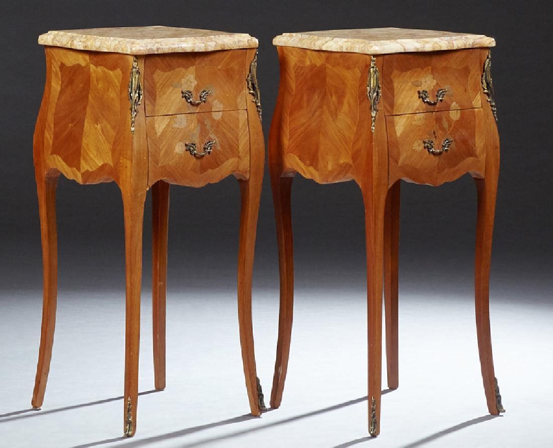 Pair of French Louis XV Style Marquetry Inlaid Mahogany
