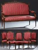 French Louis XVI Style Six Piece Carved Walnut Parlor
