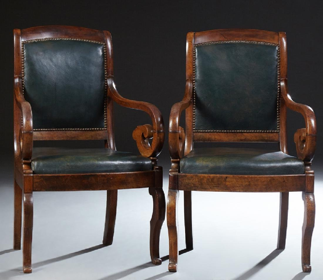 Pair of French Louis Philippe Style Carved Walnut