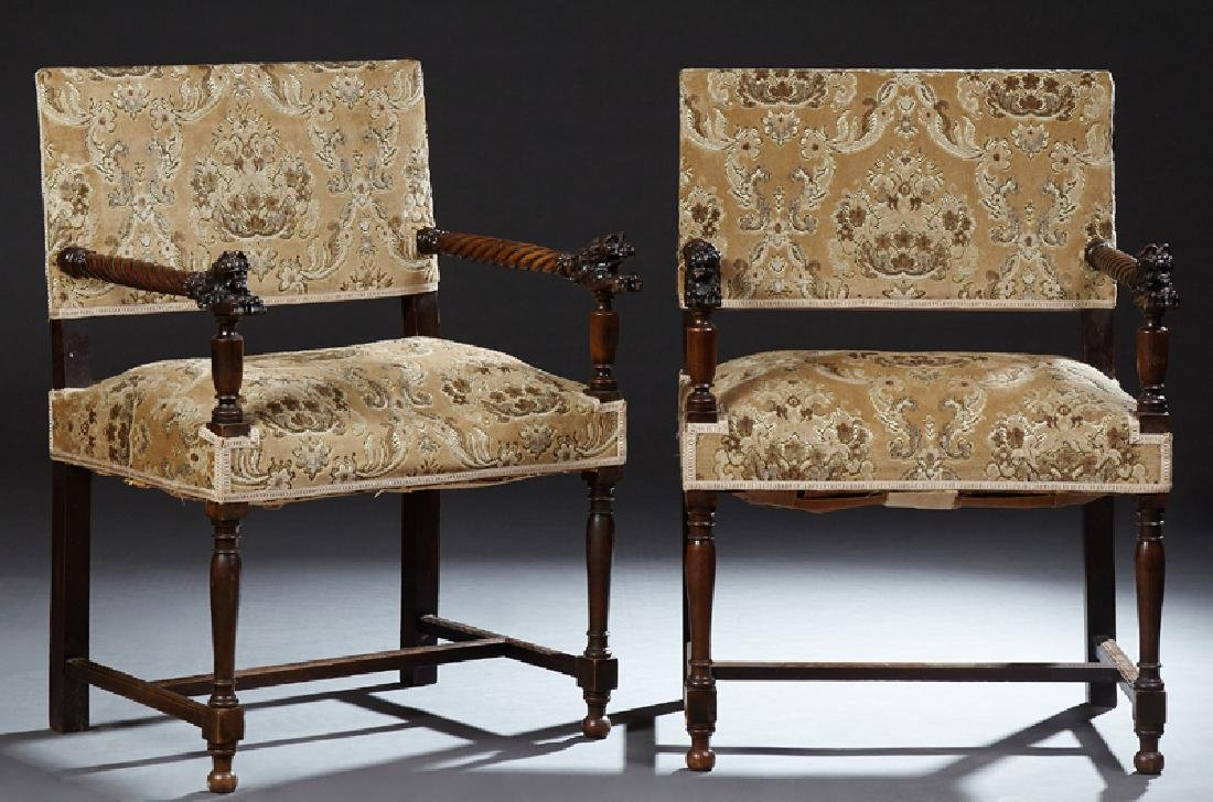 Pair of French Henri II Style Armchairs, c. 1880, the