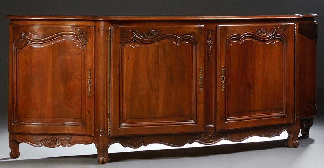 French Louis XV Style Carved Walnut Sideboard, 20th c.,