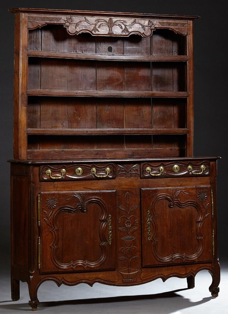 French Louis XV Style Carved Oak Vaisselier, 19th c.,