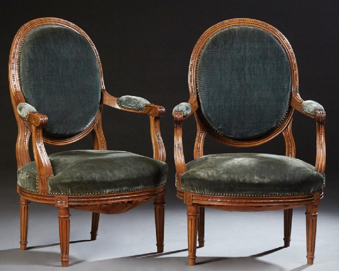 Pair of French Louis XVI Style Fauteuils, early 20th
