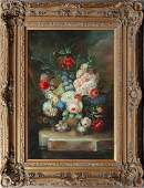 Chinese School Floral Still Life 20th c oil on