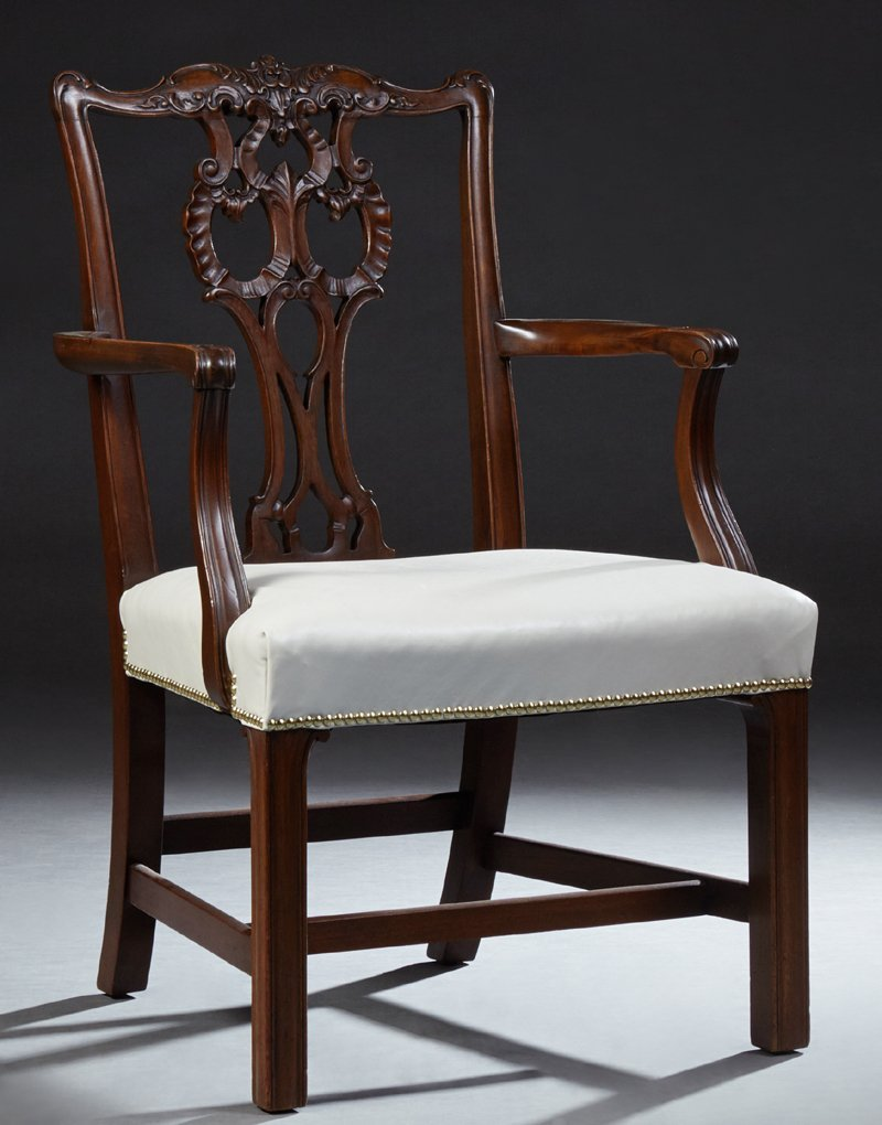 English Carved Mahogany Chippendale Style Armchair,