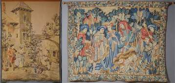 Two French Tapestries, 20th c., one of a Medieval hunt