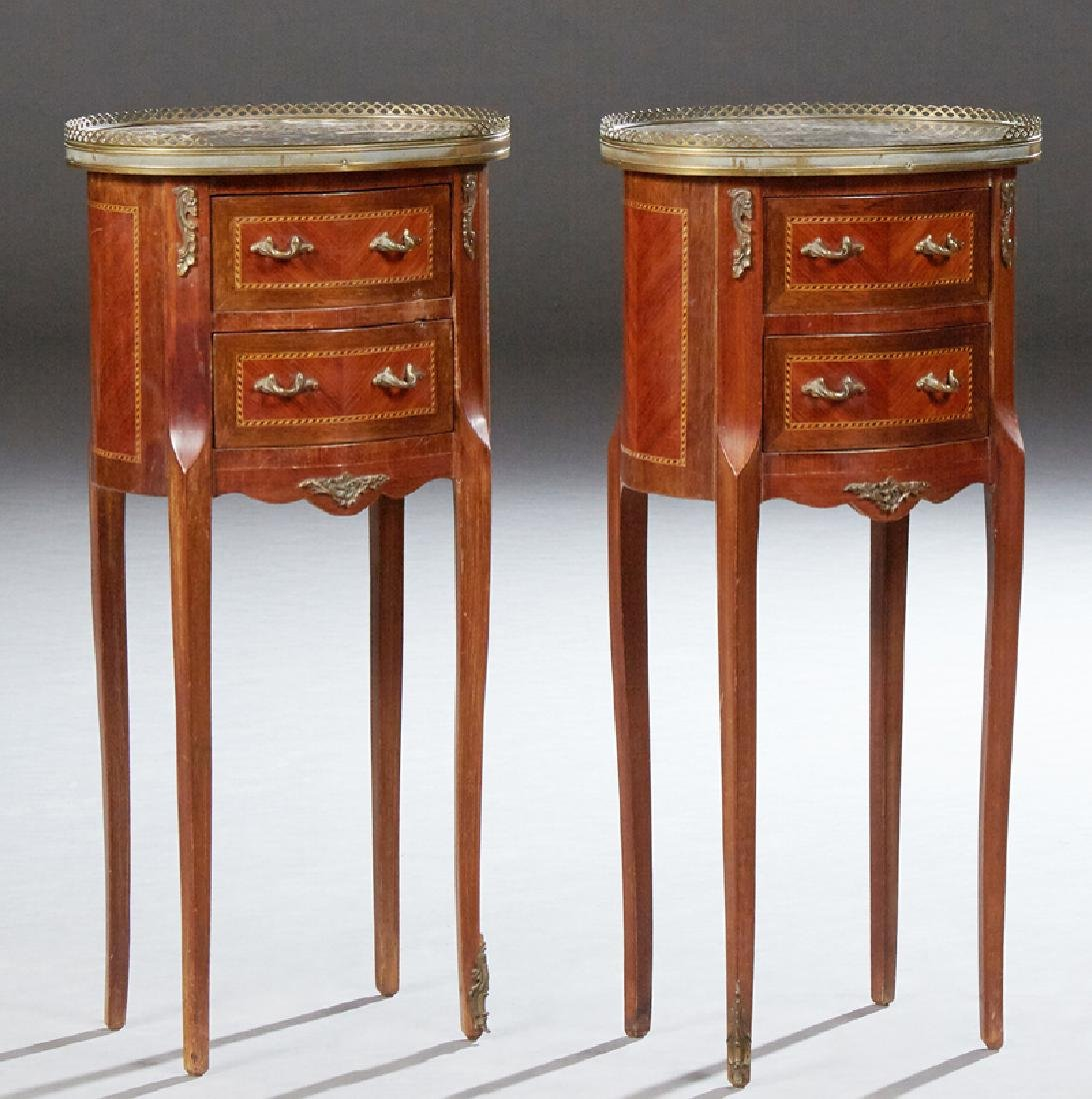 Pair of French Louis XV Style Ormolu Mounted Marble Top