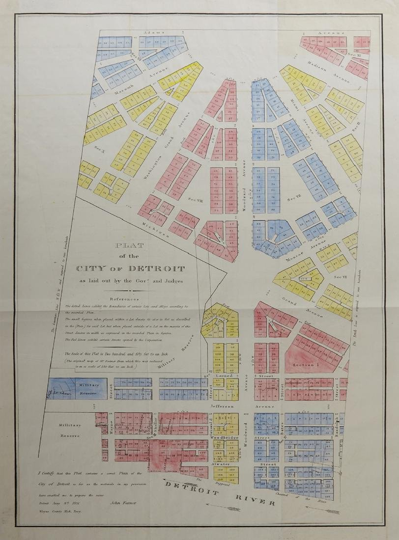 """John Farmer, """"Plat of the City of Detroit as Laid out"""