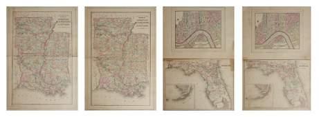 """Three Maps by Samuel Augustus Mitchell (1790-1868), """""""