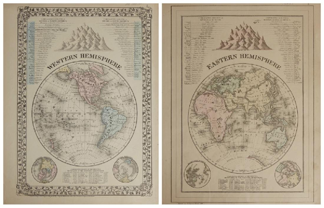 Two Maps by Samuel Augustus Mitchell (1790-1868),