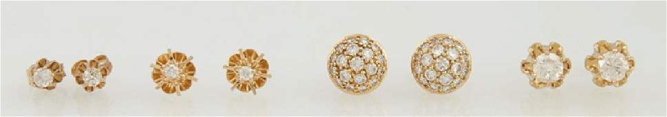 Four Pairs of 14K Yellow Gold Diamond Stud Earrings,