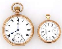 Two Pocket Watches consisting of an Omega 9K open