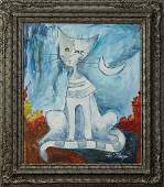 American School Abstract Blue Striped Cat 20th c