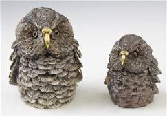Pair of Weighted Sterling Owl Figures, 20th c., #