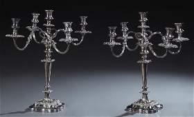 Pair of English Silver Plated Five Light Candelabra, by