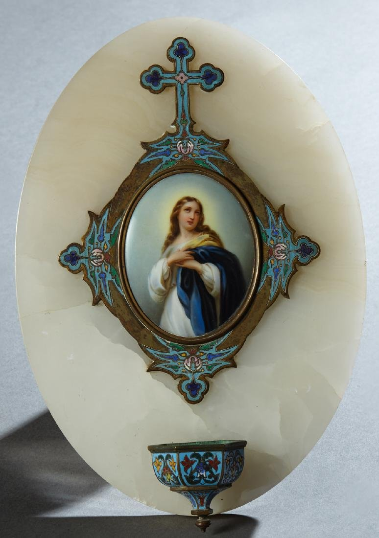 French Champleve Bronze and Porcelain Alabaster Holy