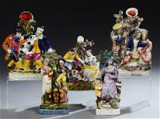 Group of Five Staffordshire Style Figures 20th c