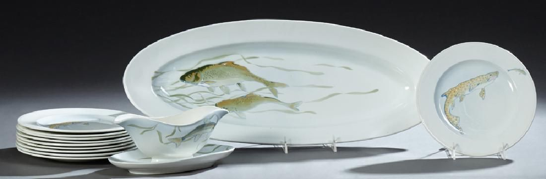 French Twelve Piece Ceramic Fish Set, early 20th c., by