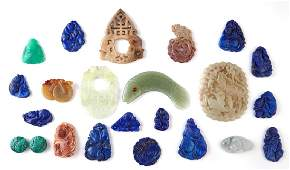 Twenty Three Pieces of Chinese Carved Stone, 20th c.,