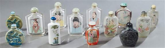 Group of Thirteen Chinese Snuff Bottles, 20th c.,