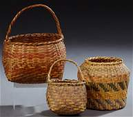 Group of Three Baskets: one Choctaw egg holder and two