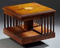 Diminutive English Inlaid Carved Mahogany Bookmill,
