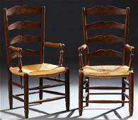 Pair of French Provincial Carved Walnut Rush Seat