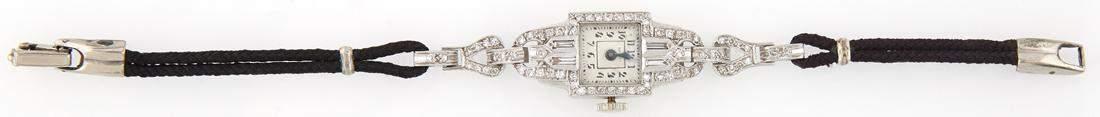 Lady's Vintage Platinum Diamond Mounted Waltham