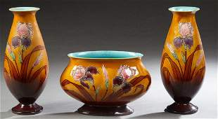 Three Piece French Majolica Garniture Set, early 20th