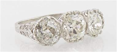 Lady's Platinum Old Mine Cut Three Diamond Ring, early