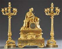 Exceptional Louis XV Style Gilt Bronze Three Piece