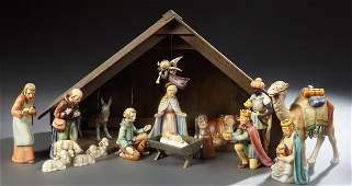 Seventeen Piece Hummel Nativity Set, 20th c.,