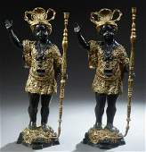 Pair of Large Gilt and Patinated Bronze Blackamoor