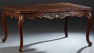 French Louis XV Style Carved Walnut Drawleaf Dining